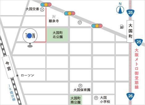 東イン株式会社への経路マップ